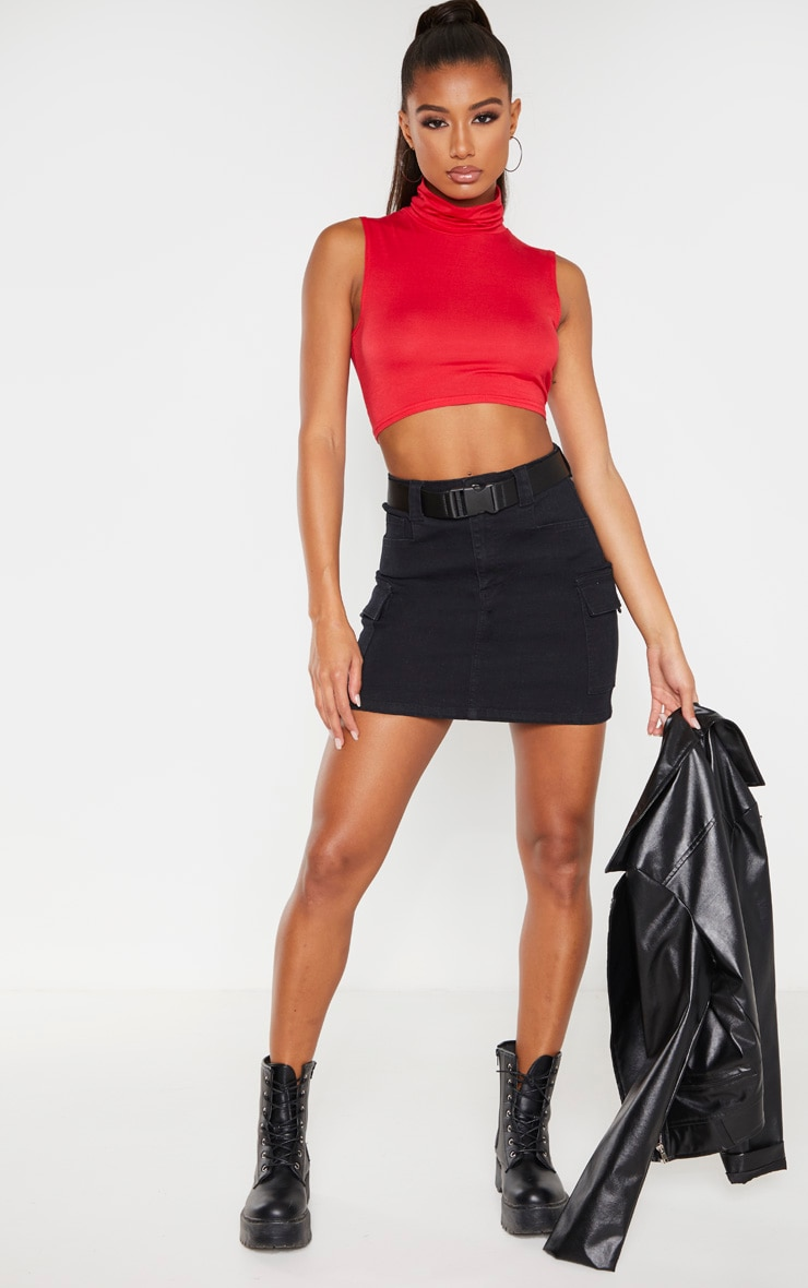 Basic Red Jersey Roll Neck Sleeveless Crop Top 3