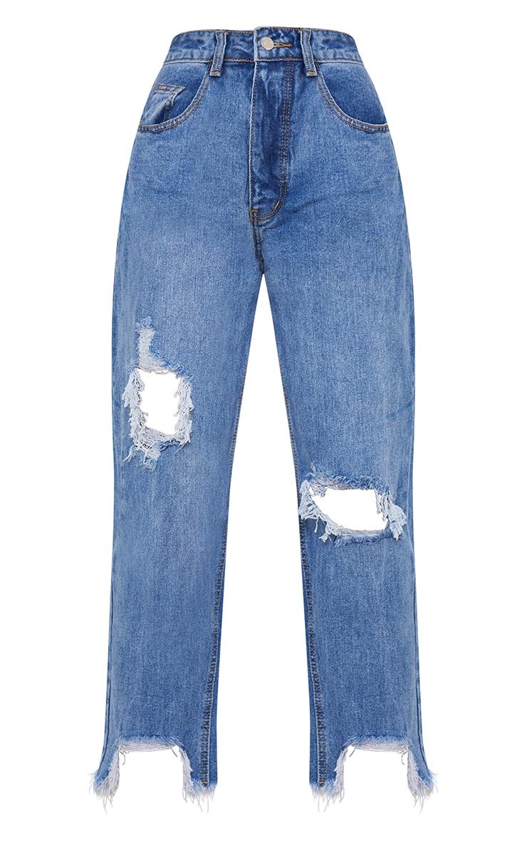 PRETTYLITTLETHING Petite Mid Blue Wash Extreme Distressed Hem Boyfriend Jean 5