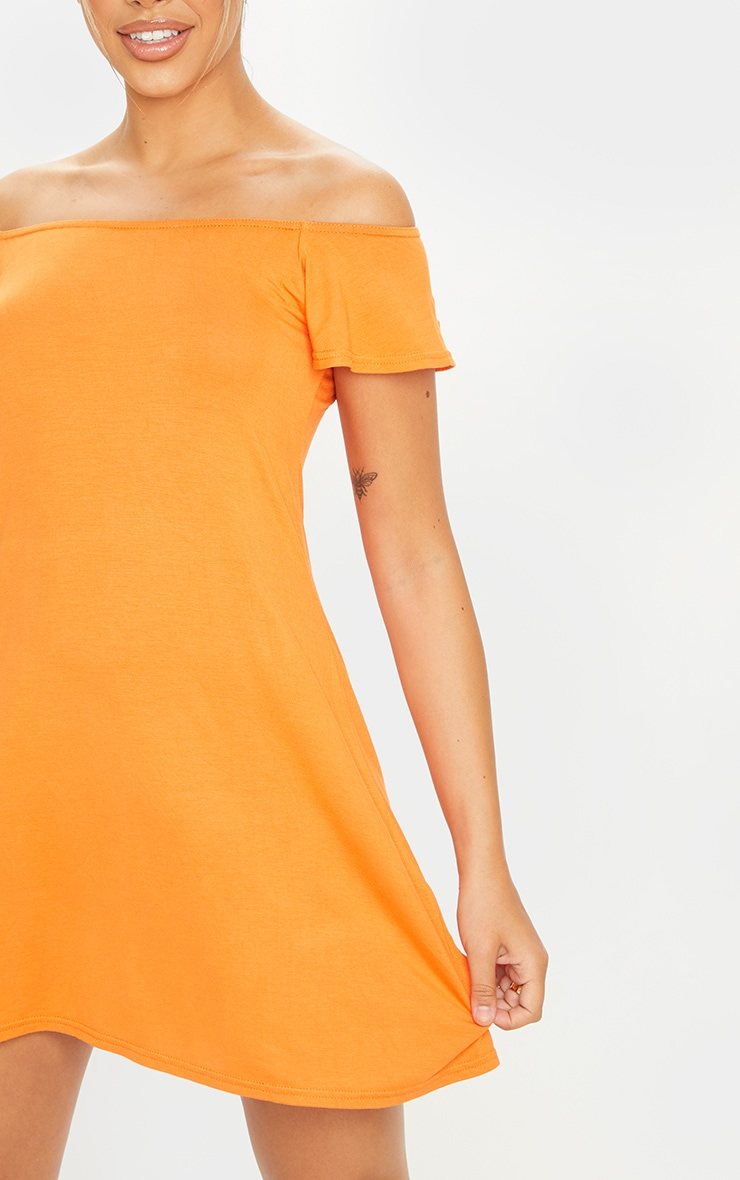 Orange Jersey Bardot Shift Dress 4