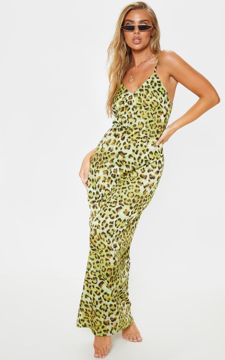 Lime Leopard Chiffon Maxi Beach Dress 4