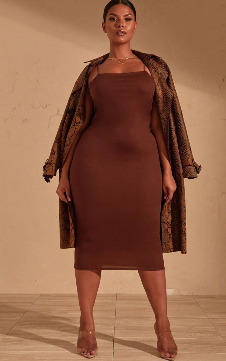 Plus Chocolate Brown Strappy Midi Dress