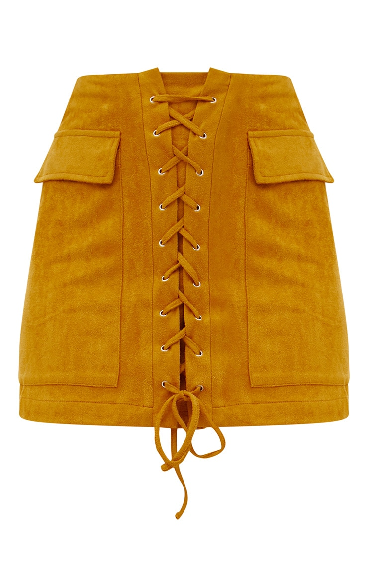 Mustard Faux Suede Lace Up Mini Skirt  3
