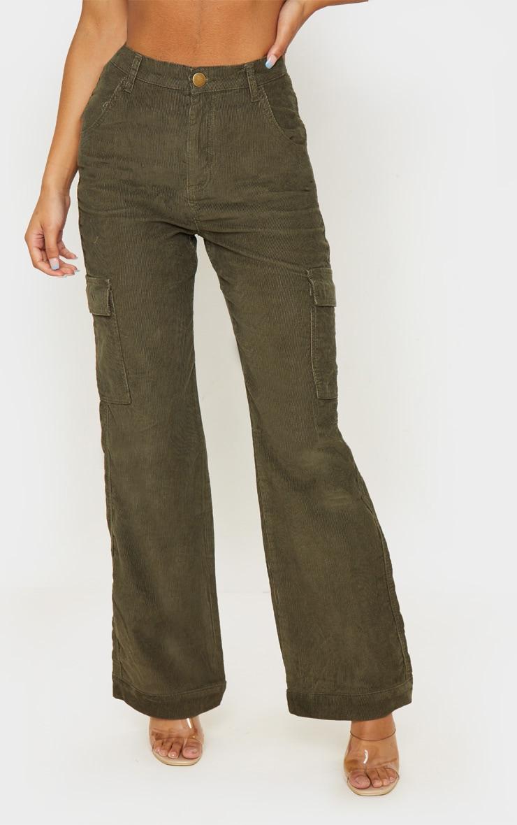 Khaki Cord Cargo Pocket Wide Leg Jeans 2