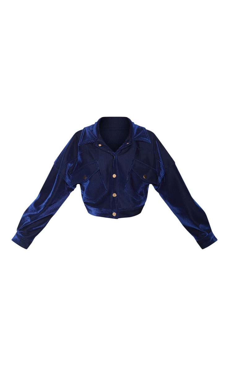 Navy Cropped Cord Oversized Trucker Jacket  3