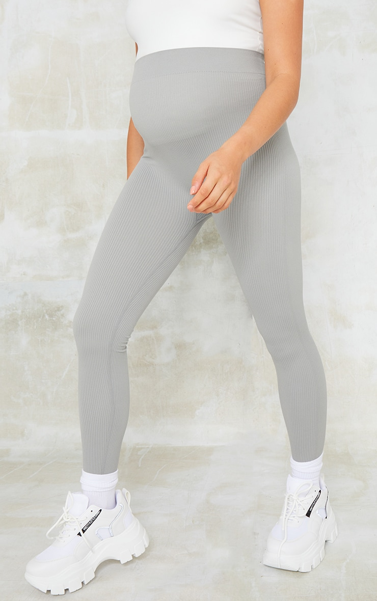 Maternity Grey Contour Rib Leggings 2