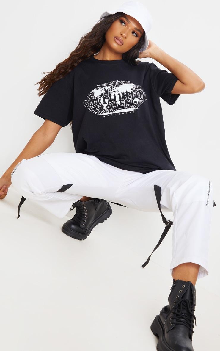 Black Corruption Slogan Oversized T Shirt 3