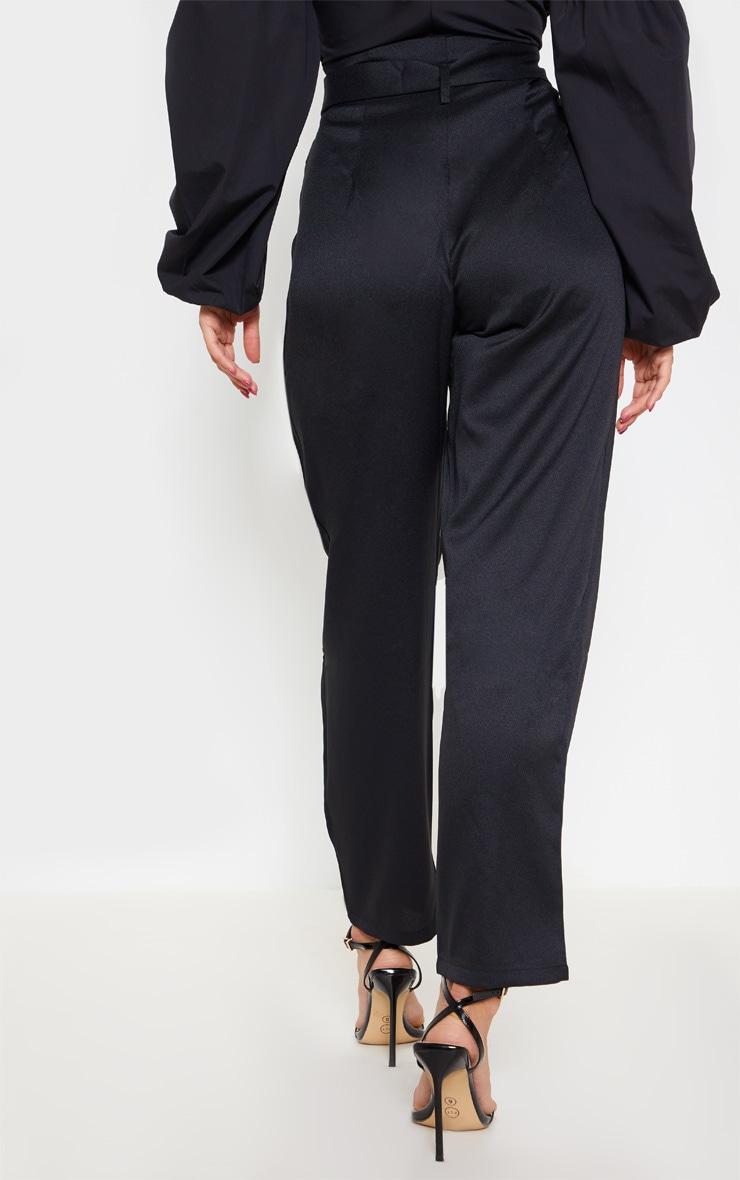 Black Paperbag Belted Waist Tapered  Leg Pants 4