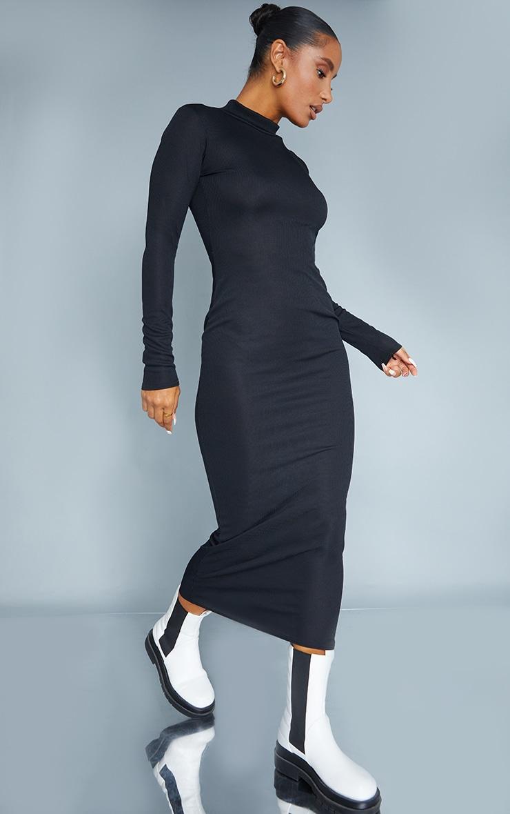 Black Rib Wrap Open Back High Neck Midaxi Dress 1