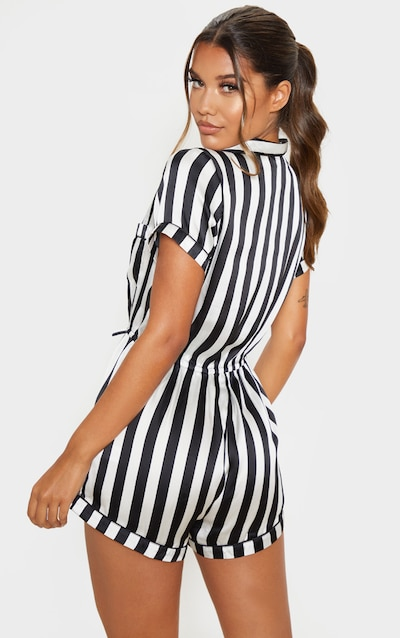 Black And White Button Front Satin Romper