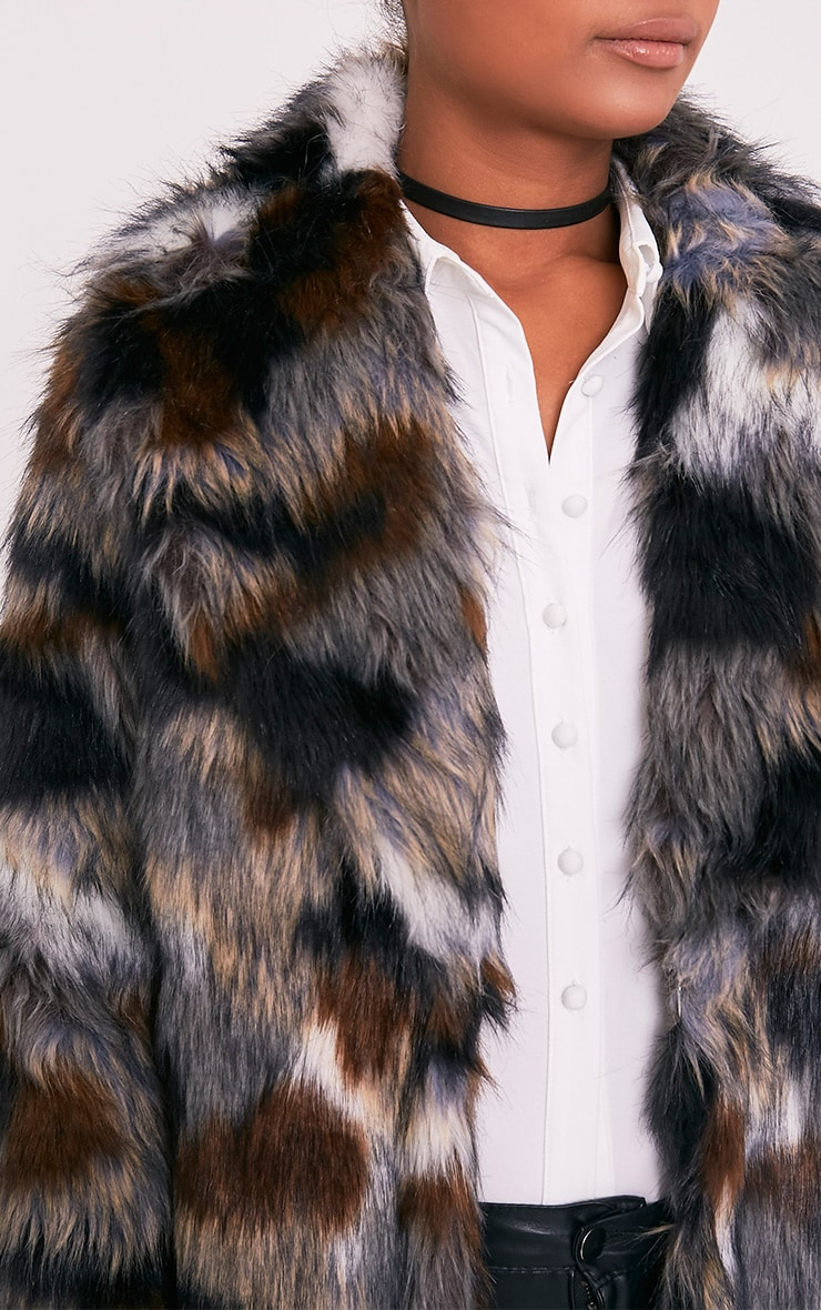 Georgiana Premium manteau long en fausse fourrure multicolore 6
