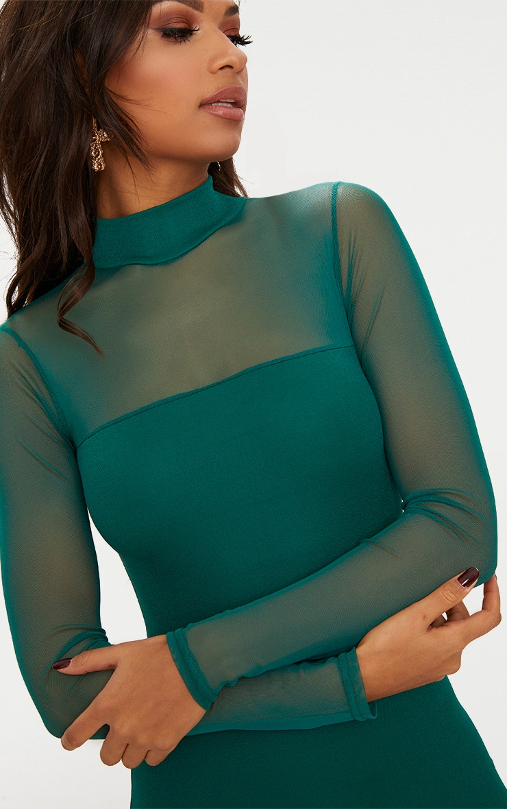 Emerald green High Neck Mesh Panel Bodycon Dress  5