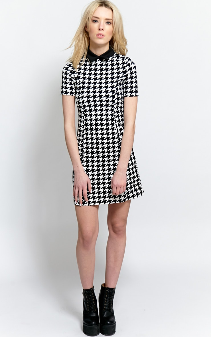 Naomi Black & White Dogstooth Collar Dress 4