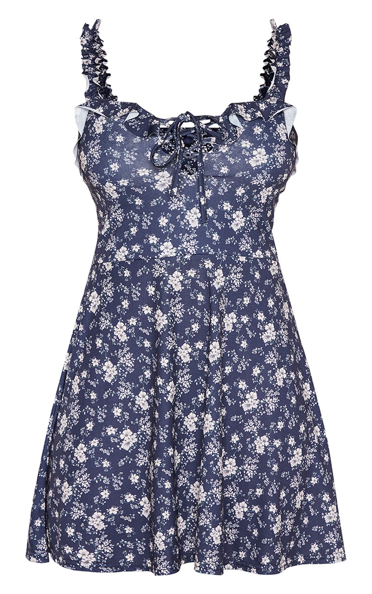 Tall Navy Ditsy Floral Ruched Frill Strap Skater Dress 3