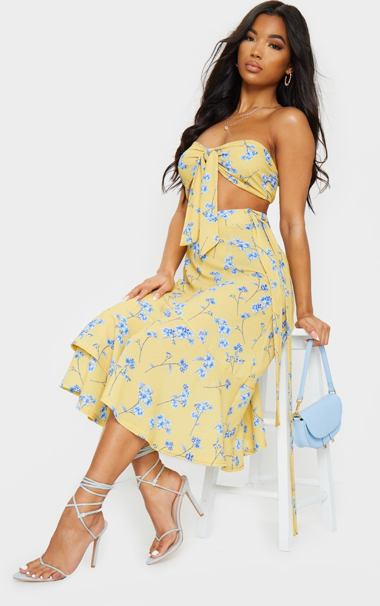 Yellow Floral Printed Frill Hem Wrap Midi Skirt 1