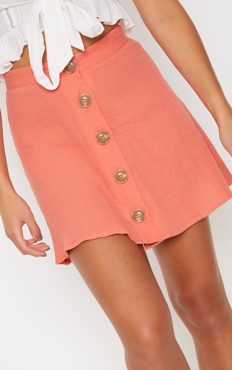 Coral Button Front Linen Feel Mini Skirt 6