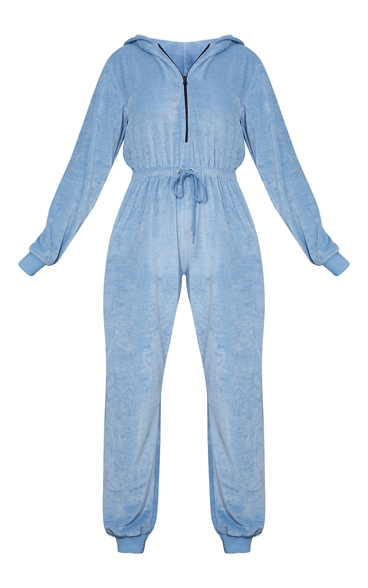 PRETTYLITTLETHING Baby Blue Diamante Velour Jumpsuit 5