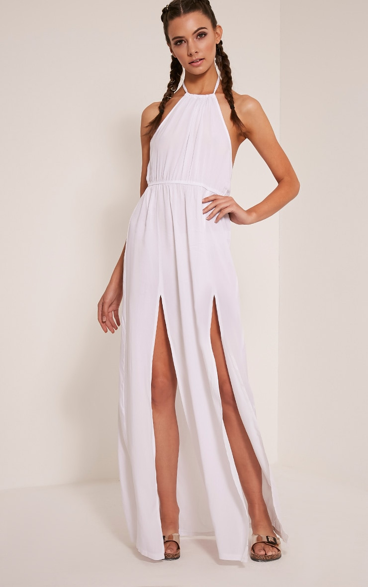 Brylee White Halterneck Split Front Maxi Dress 1