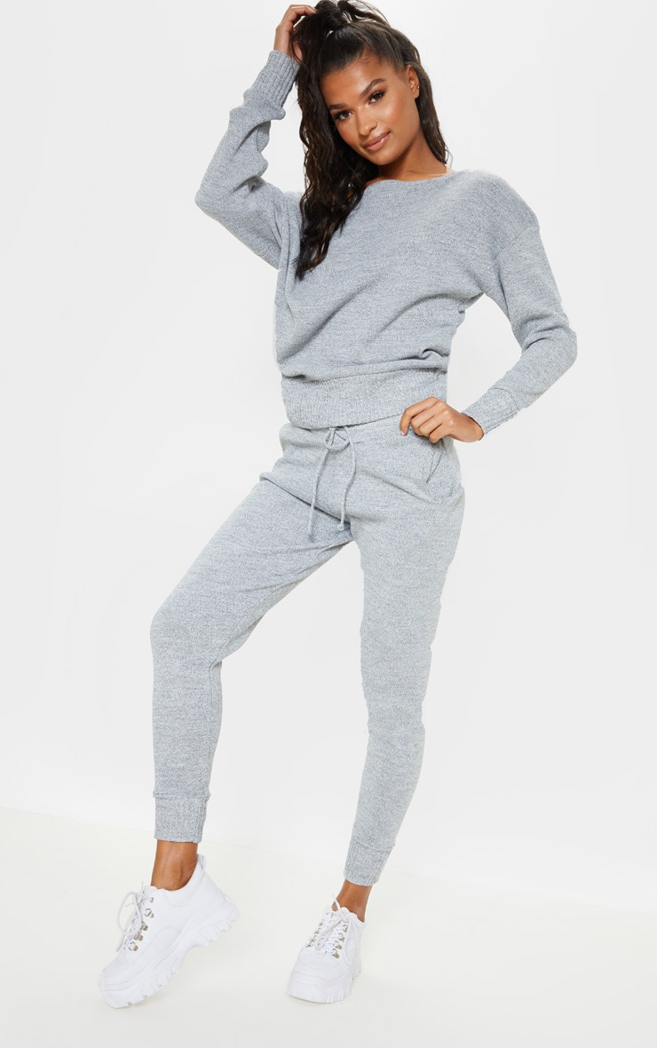 Auriel Grey Jogger Jumper Knitted Lounge Set 4