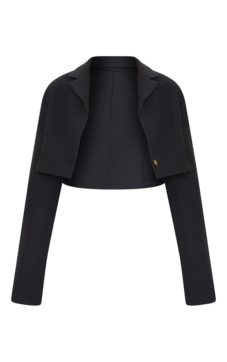 Black Woven Cropped Blazer 5