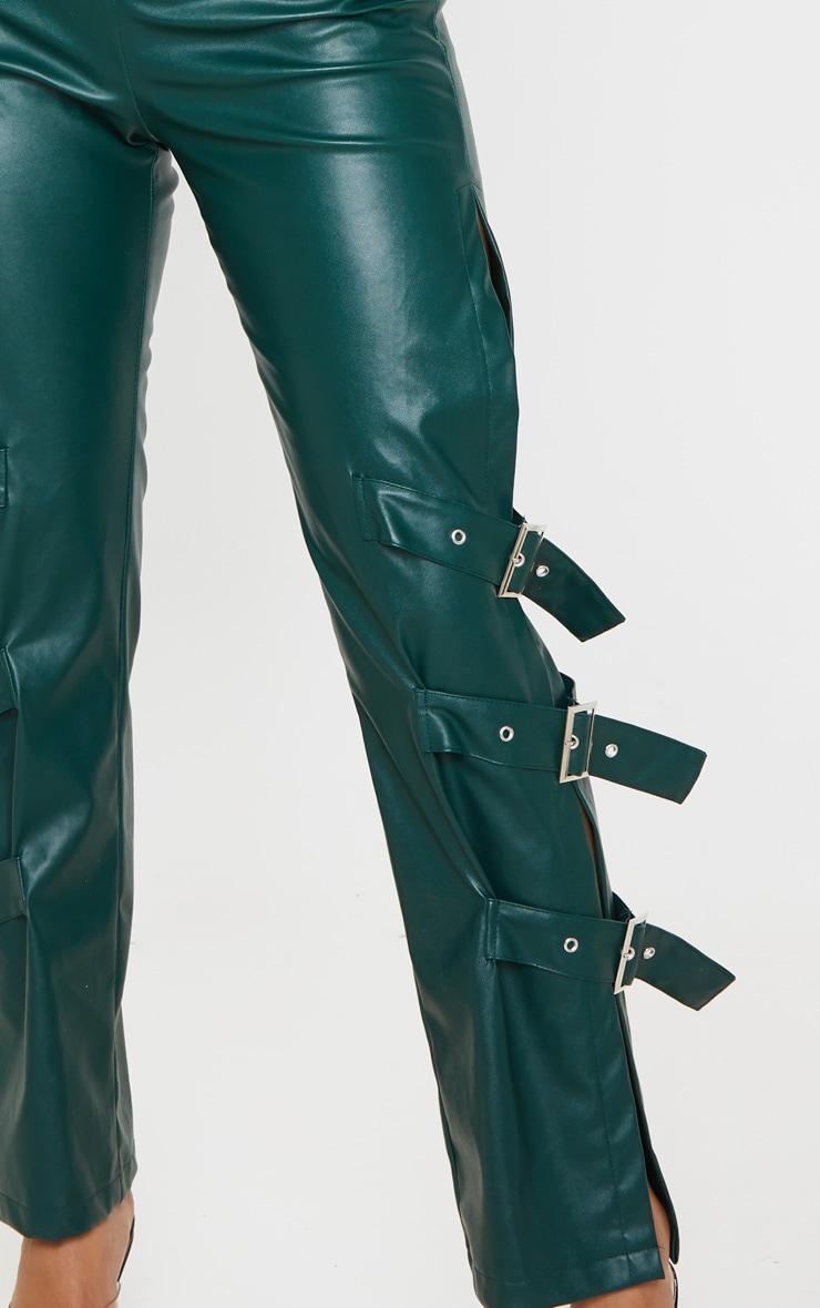 Emerald Faux Leather Buckle Strap Detail Pants 5