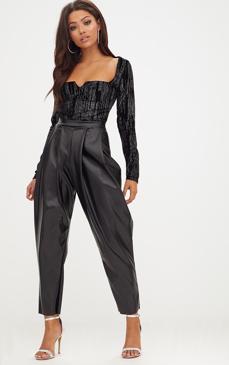 Black Sparkle Velvet Longsleeve V Thong Bodysuit 5
