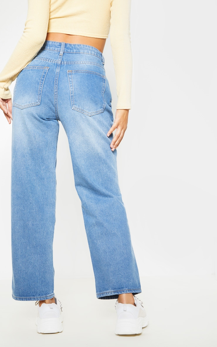 Light Wash Knee Rip Jeans 4