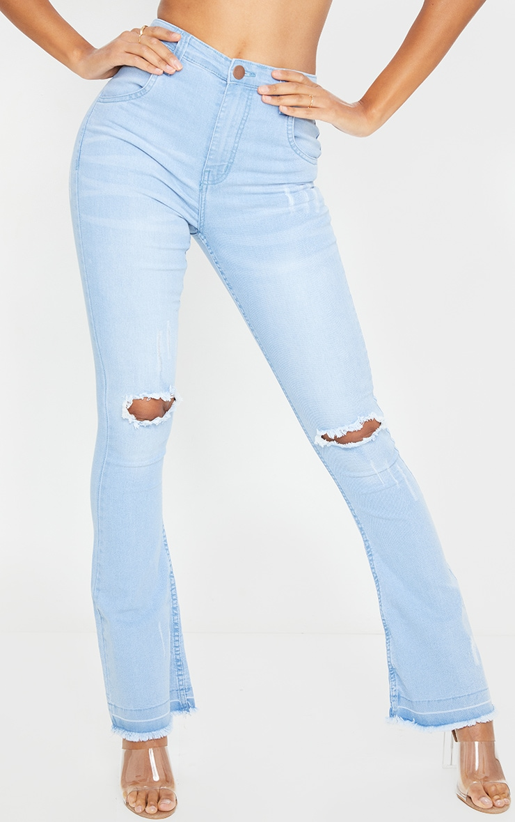 addy distressed flare jean womens