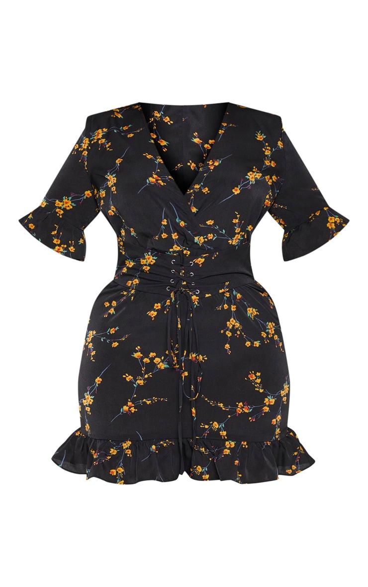 PLT Plus - Robe fluide noire à imprimé floral et corset 3
