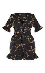 Plus Black Floral Corset Swing Dress 3