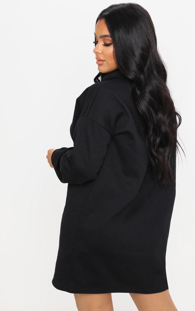 Petite - Robe pull oversize noire à col roulé 2