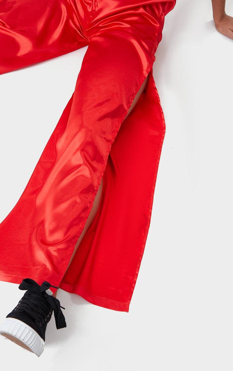 Red Satin Side Split Wide Leg Joggers 5