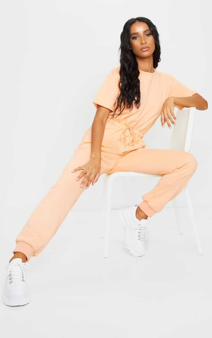 Peach Short Sleeve Sweat Jumpsuit 1