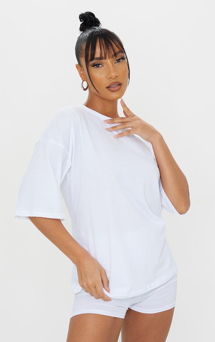 White Cotton Oversized T-Shirt & Hot Pants Set 3