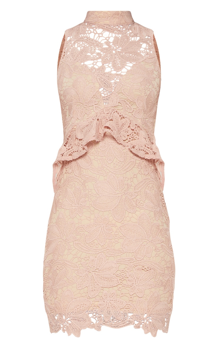 Dusty Pink Lace High Neck Frill Detail Bodycon Dress 3