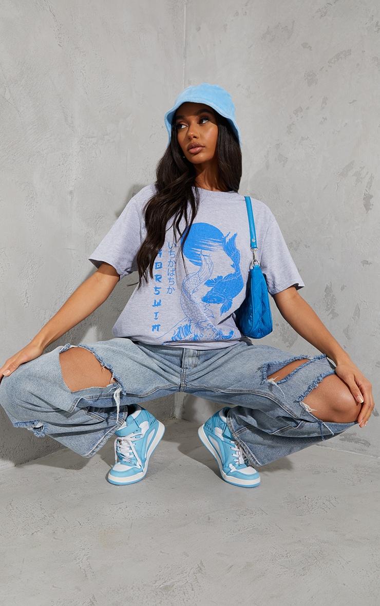 Grey Sink Or Swim Printed T Shirt 1