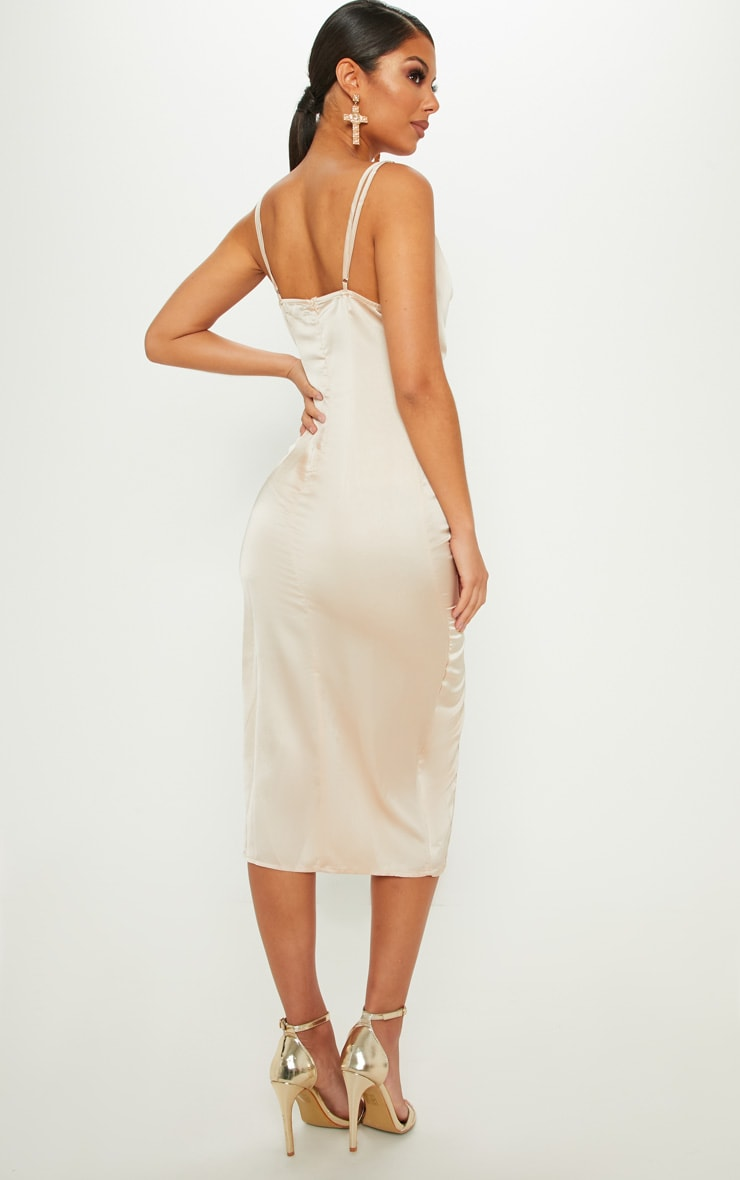 Champagne Strappy Satin Cowl Midi Dress 2