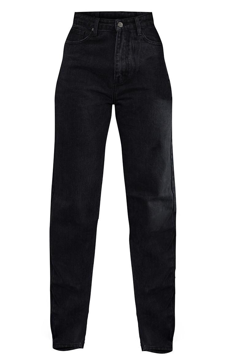 Washed Black High Waist Straight Leg Jeans 5