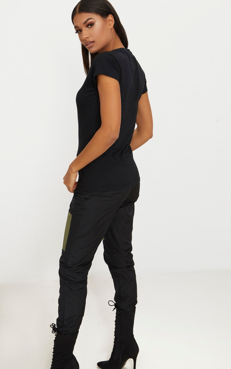 Basic Black Fitted V Neck Jersey T Shirt 2