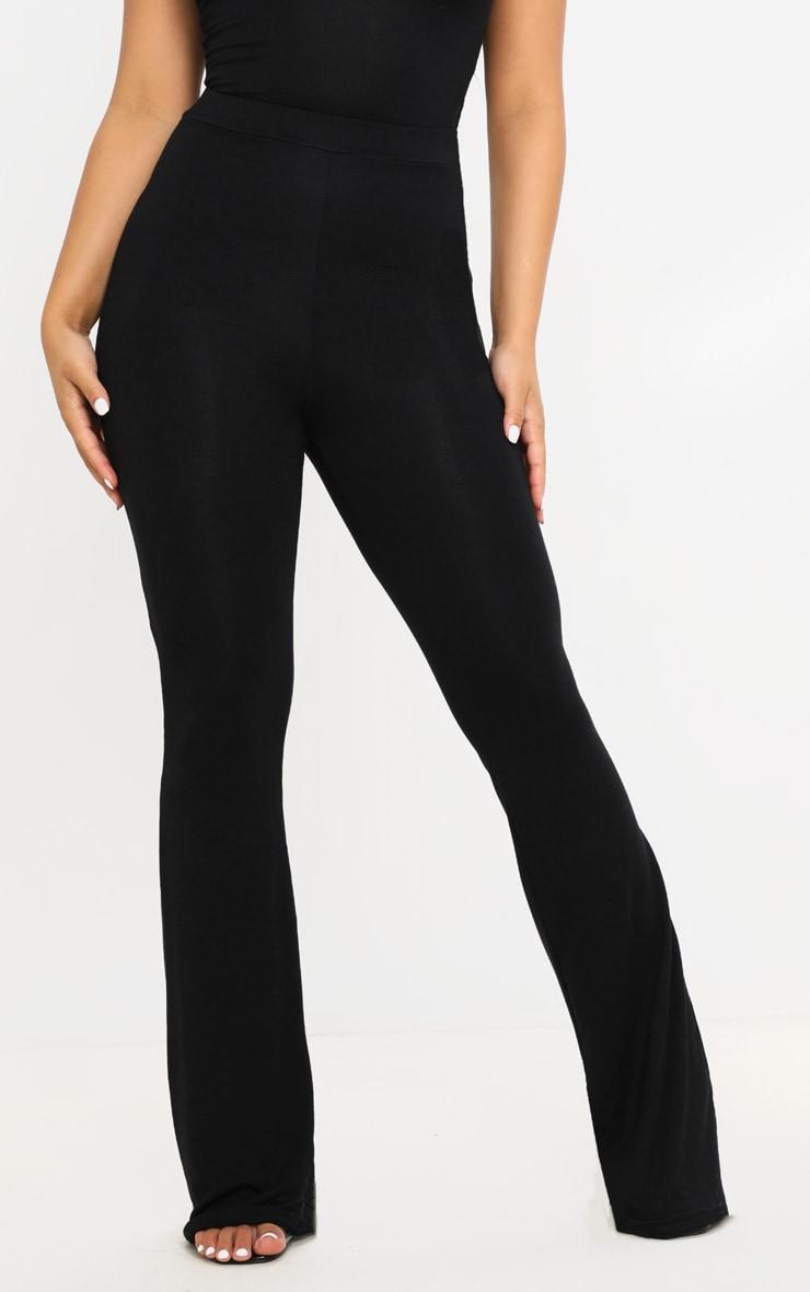 Petite - Pantalon basique en jersey noir à jambes évasées 2