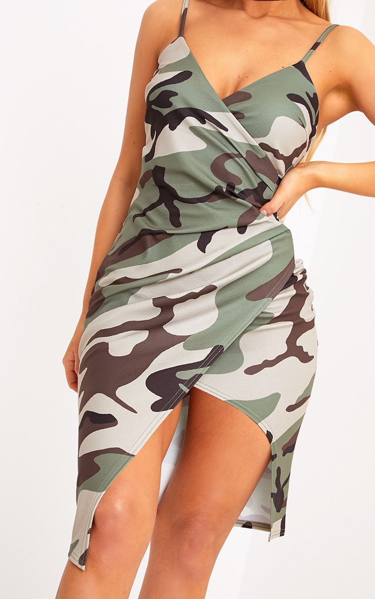 Lauriell Green Camouflage Wrap Front Crepe Midi Dress 4