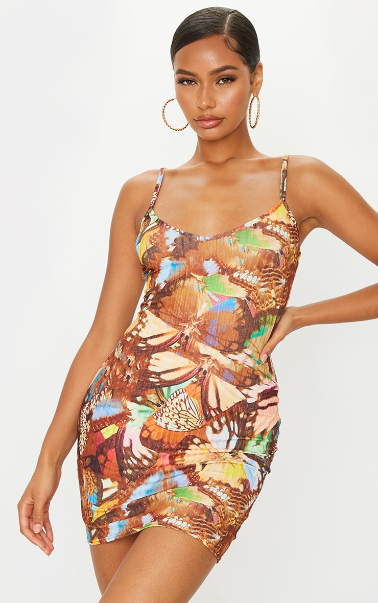Multi Butterfly Print Ribbed Strappy Bodycon Dress 1