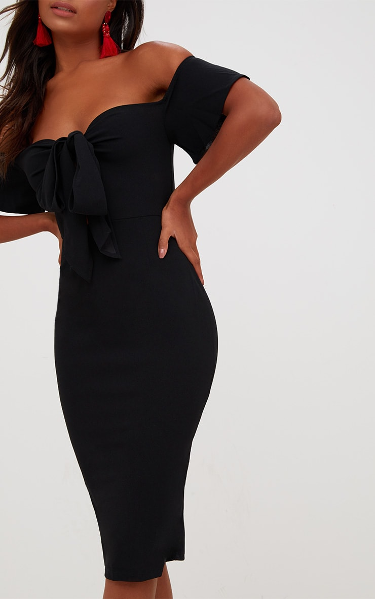 Black Bardot Tie Front Midi Dress 5