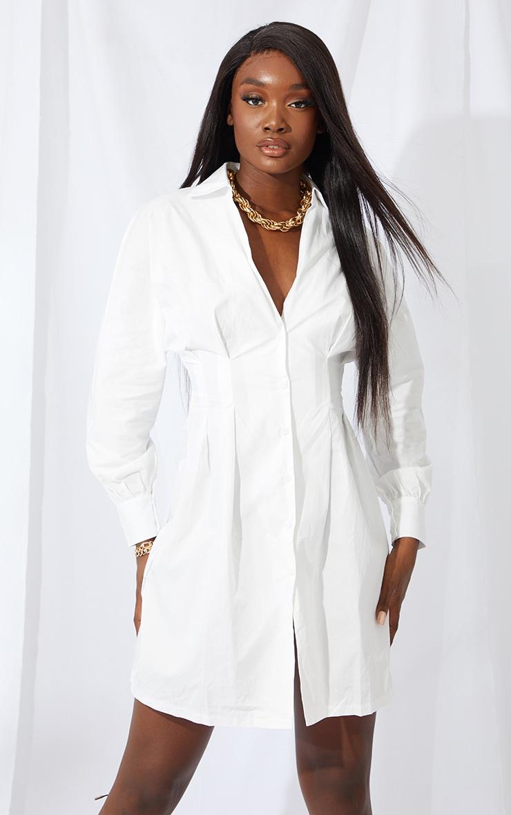 Tall White Corset Oversized Shirt Dress 1