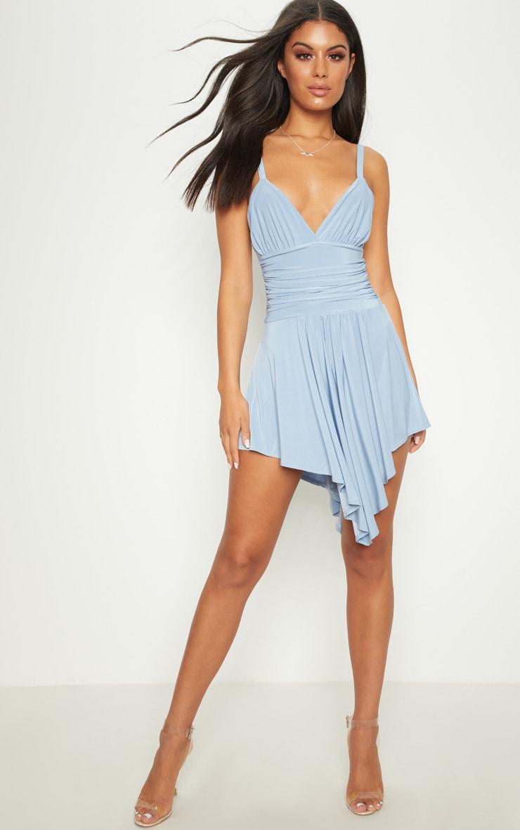 Dusty Blue Slinky Asymmetric Hem Swing Dress 3