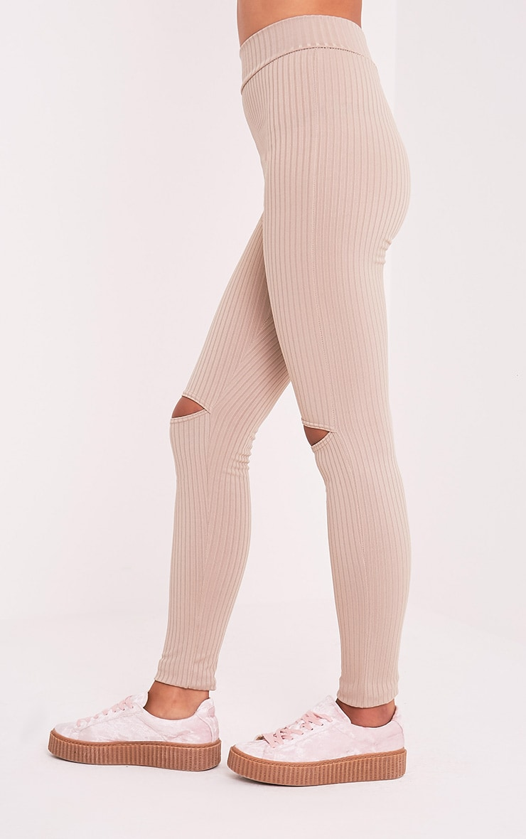 Harlie Taupe Knee Slit High Waisted Leggings 3