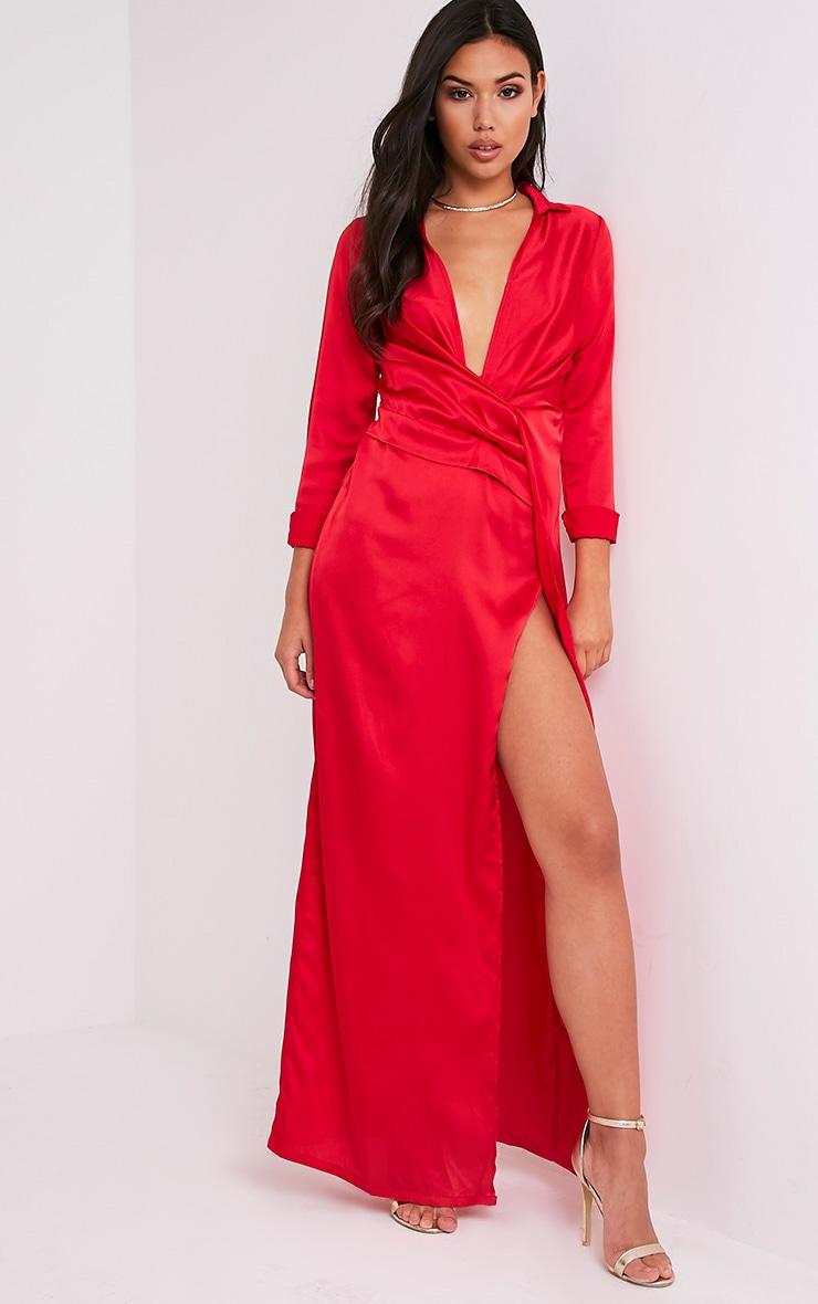 Alyssia Red Twist Front Maxi Shirt Dress 1