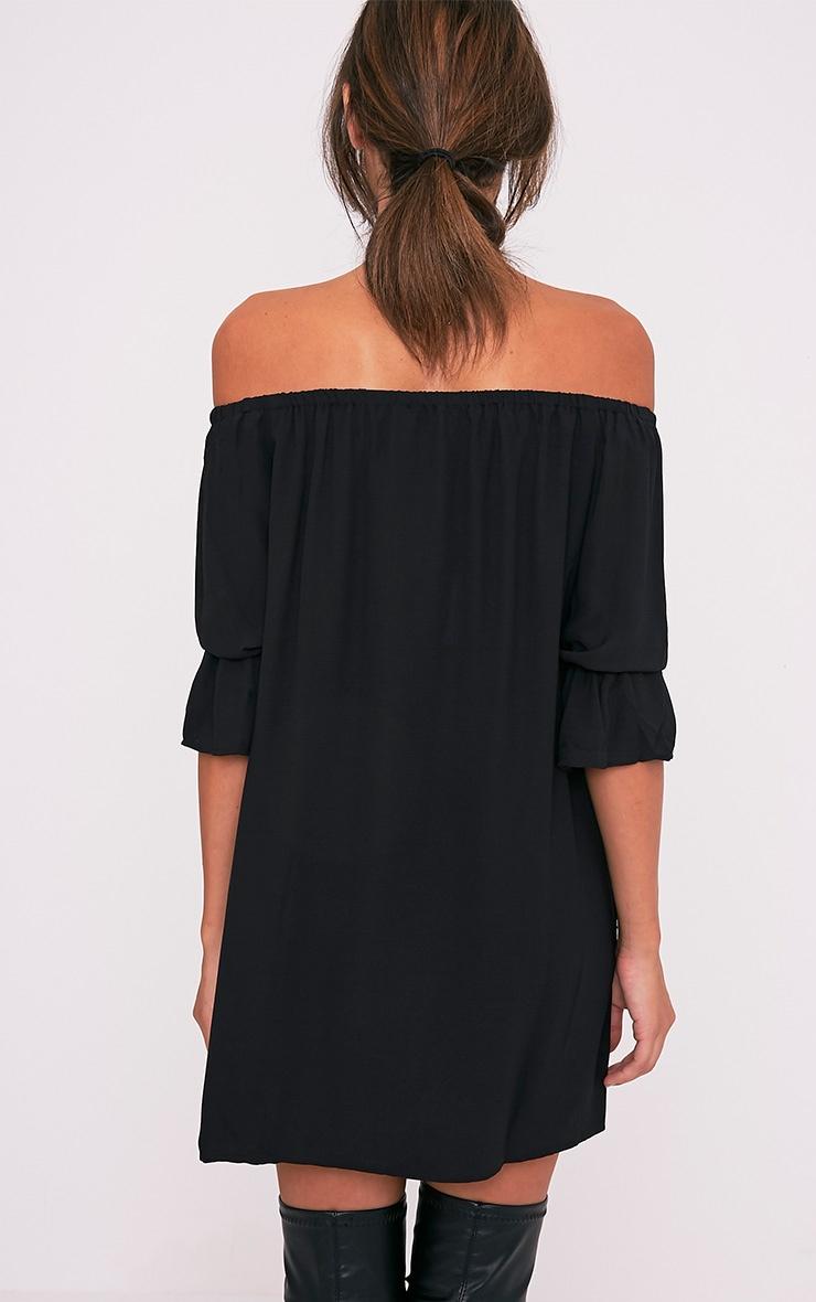 Shanaya Black Long Frill Sleeve Bardot Shift Dress 2