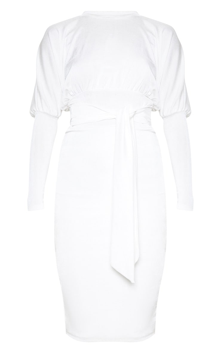 White Balloon Sleeve Tie Waist Midi Dress 3