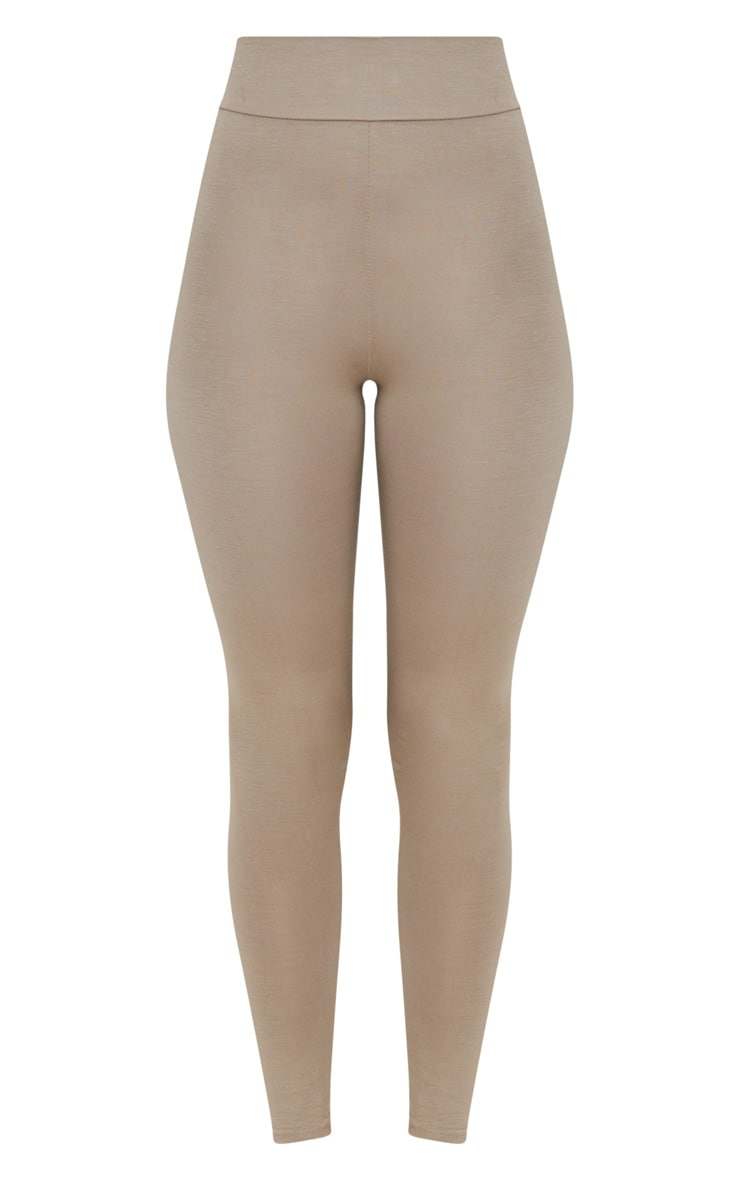 Basic Taupe High Waisted Jersey Leggings 3