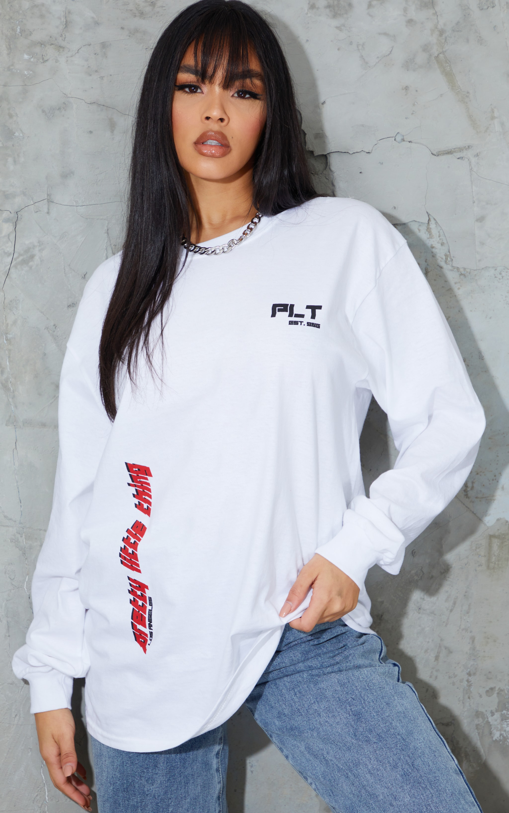 PRETTYLITTLETHING White Double Print Long Sleeve T Shirt 1